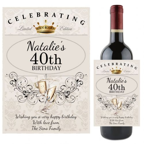 Personalised Happy Birthday Wine / Champagne Bottle Label Gift Idea N64